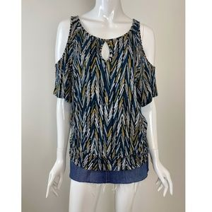 Thalia Sodi Short Sleeve Cold Shoulder Top Size M